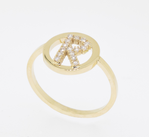 Diamanten letter ring rond