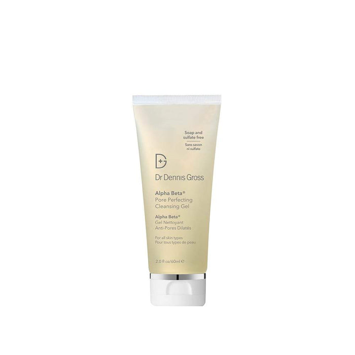 Alpha Beta Pore Perfecting Cleansing Gel - 60ml. Durchsichtige Tube mit grauer Schrift und einem weißen Deckel, vor einem weißen Hintergrund.
