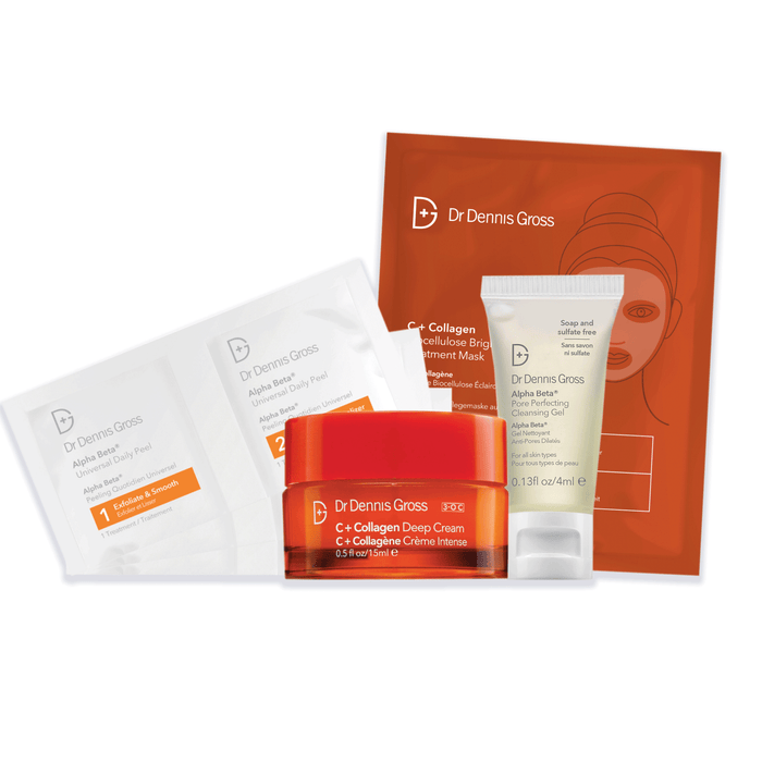C + Collagen Kit - Alpha Beta Pore Perfecting Cleansing Gel Sample, durchsichtige Tube mit grauer Schrift und einem weißen Deckel mit drei Alpha Beta Daily Peel Pads, einer C+Collagen Biocellulose Brightening Treatment Mask und einer C + Collagen Deep Cream Vitamin C Sample, vor einem weißen Hintergrund.