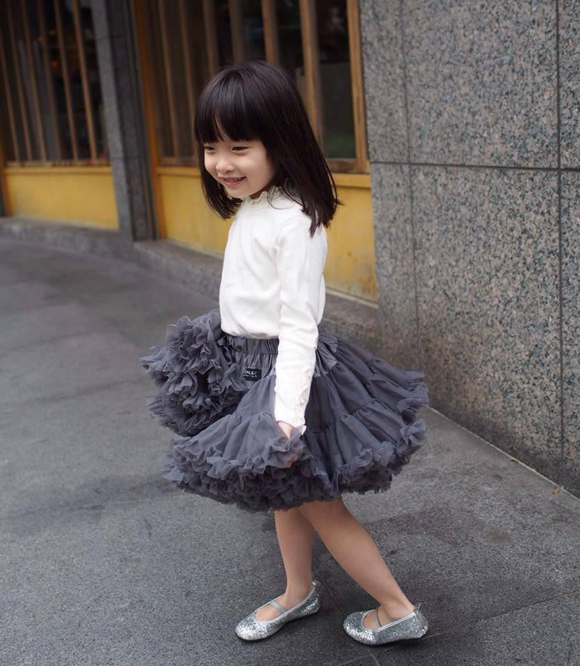 PRINCESS & THE PEA Pettiskirt dark grey (petite 1-3 years+free doll size) , (small 3-6 years+free doll size)