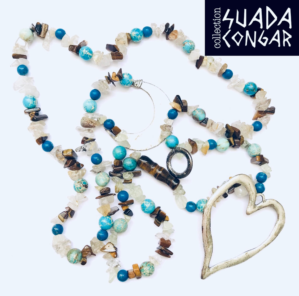 Precious Stones Collection - Turquoise & Tiger Eye Necklace