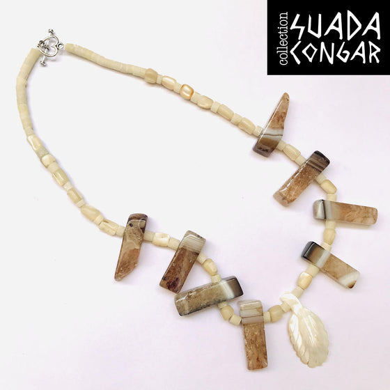 From The Sea Collection - Agate and Mother of Pearl Pearl Necklace