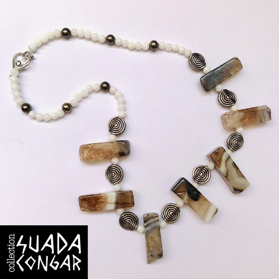 From The Sea Collection - Agate & Mother of Pearl Necklace