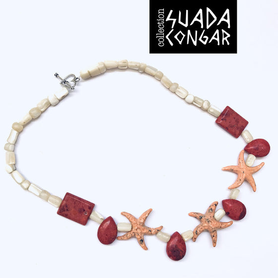 From The Sea Collection - Star Necklace with pearl and jasper