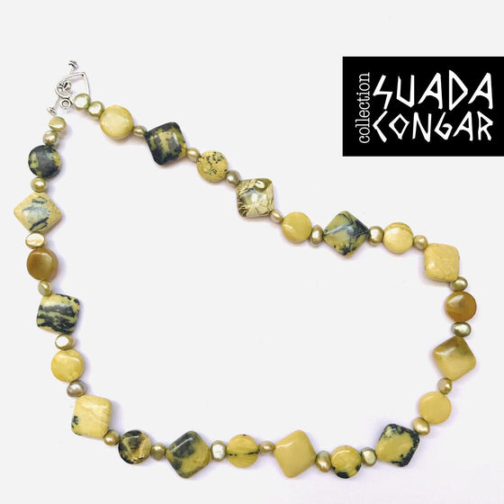From The Sea Collection - Yellow Turquise & Pearl Shell Necklace