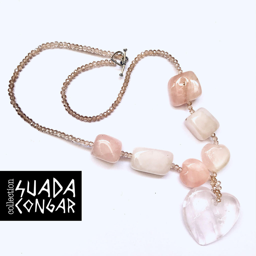 Precious Stones Collection - Pink Quartz Czech Crystal Necklace
