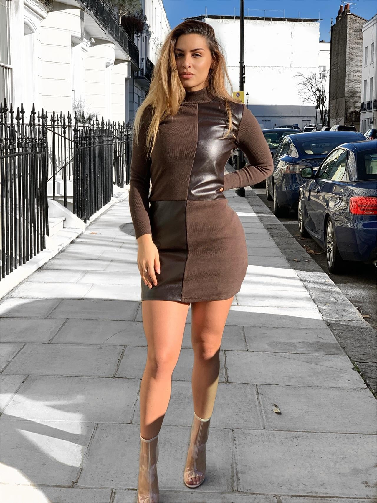 NU5 Long Sleeve Cross Patch Leather Dress