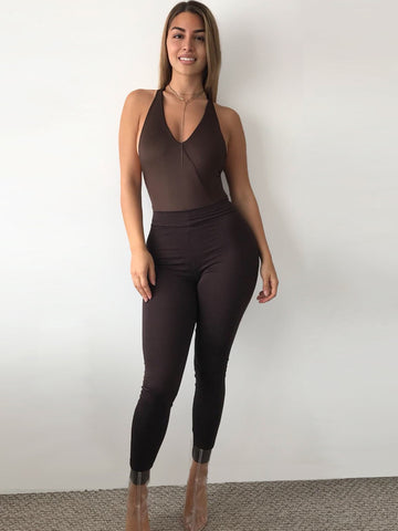 Basic Brown High Waisted Jersey Leggings