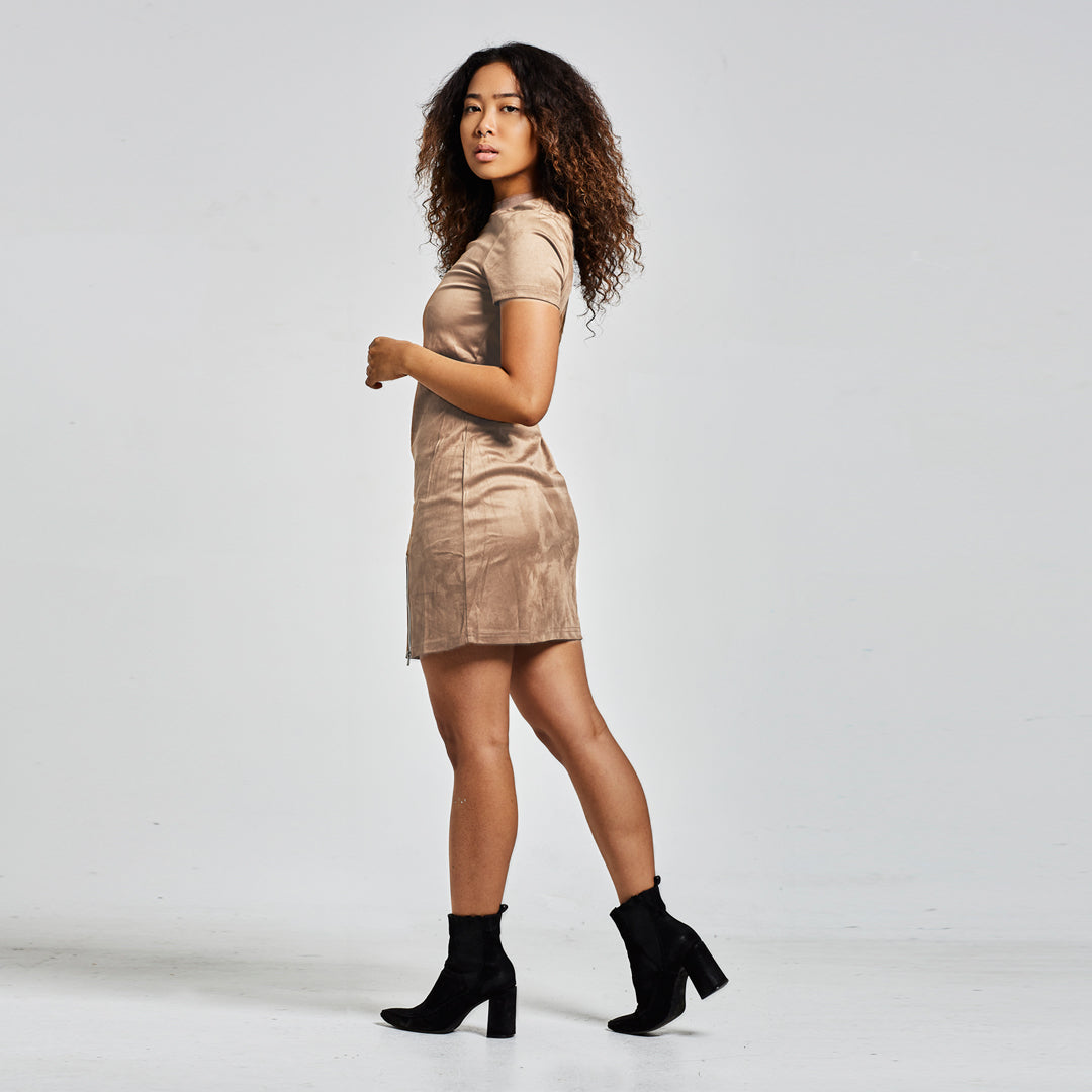 NU1 Suede T Shirt Dress With Zip Detail