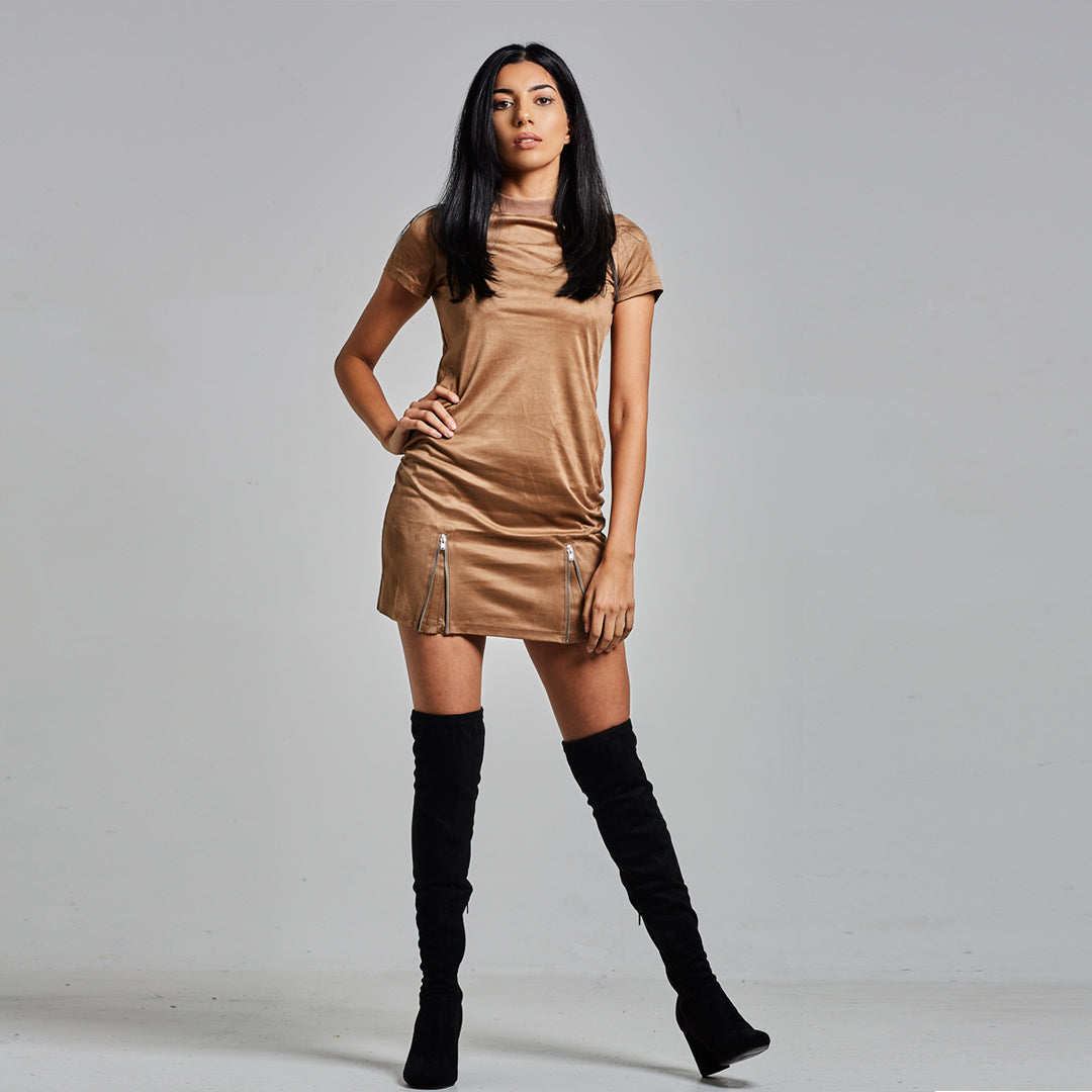 NU3 Suede T Shirt Dress With Zip Detail