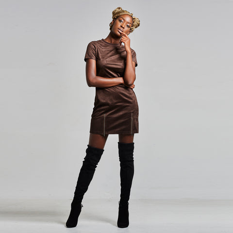 NU5 Suede T Shirt Dress With Zip Detail