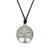 Unisex Silver Plated Tibetan Charm Leather Cord Pendant Necklace