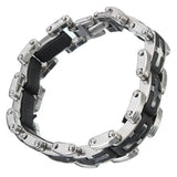 Silver Black Stainless Steel Rubber Crucifix Bracelet Bangle For Men