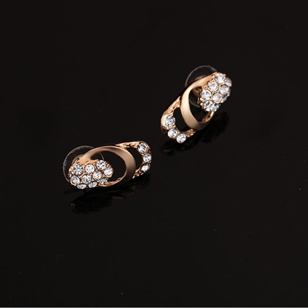 European Zircon Crystal Earrings Necklace Ring Bracelet Jewelry Set