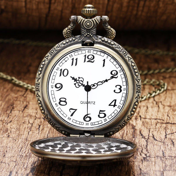 TIEDAN P380 Retro Steampunk Soviet Sickle Hammer Bronze Gold Quartz Pocket Watch Antique Pendant
