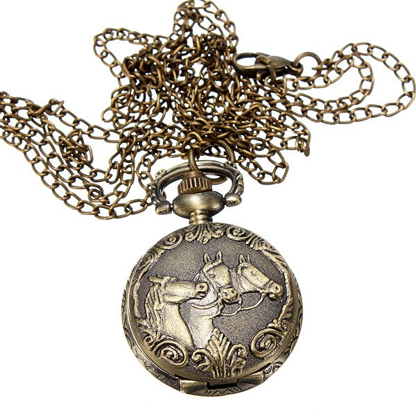 Bronze 3 Horse Engrave Quartz Pocket Watch Necklace
