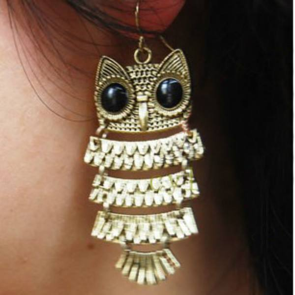 Retro Vintage Cute Owl Big Black Eyes Bronze Pendant Dangle Earring