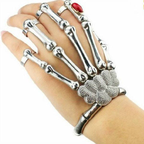Halloween Silver Punk Rock Skeleton Skull Hand Bone Ring Bracelet
