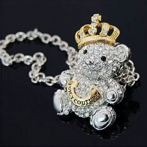Elegant Crystal Rhinestone Bear Crown Sweater Chain Necklace