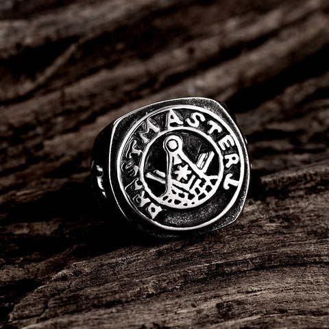 Punk Carved Words Pattern Stainless Steel Retro Men Ring Jewelry Clothing Accessories