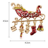 Colorful Crystal Christmas Bell Elk Snowman Brooch Pins Christmas Gift