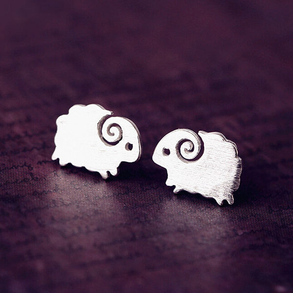 Cute Silver Plated Small Sheep Goat Animal Ear Stud Earrings
