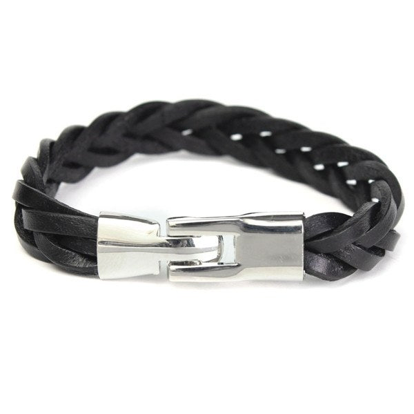 Vintage Braided PU Leather Stainless Steel Cuff Bangle Bracelet For Men