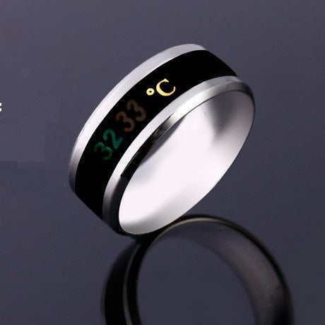 Temperature Display Stainless Steel Couple Women Men Finger Ring