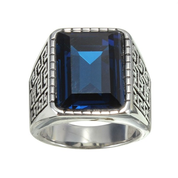 1PC Silver Stainless Steel Blue Square Gemstone Ring For Men