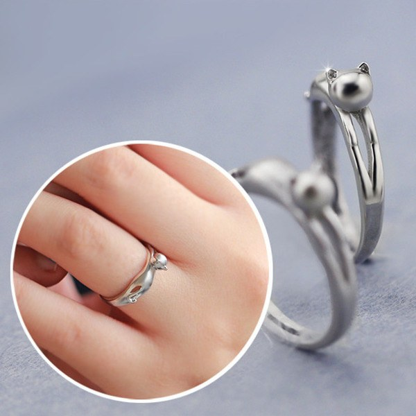 925 Sterling Silver Cute Cat Opening Ring For Women Adjustable