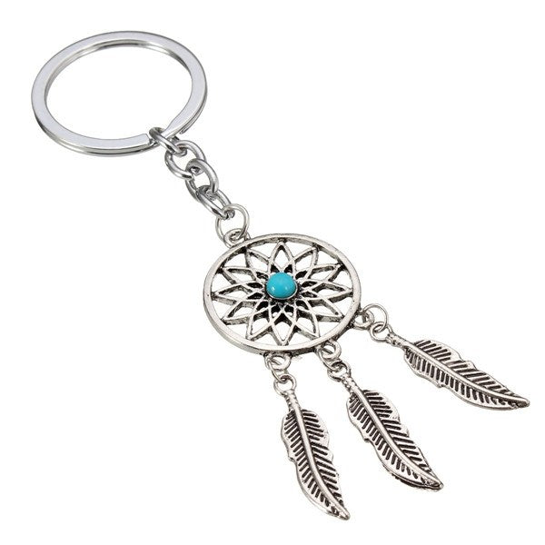 Metal Feather Tassels Dream Catcher Keychain Key Ring