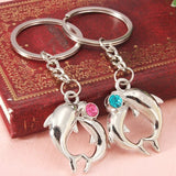 1 Pair Cute Dolphin Pendant keychain Couple Lover Key Ring - Berazo