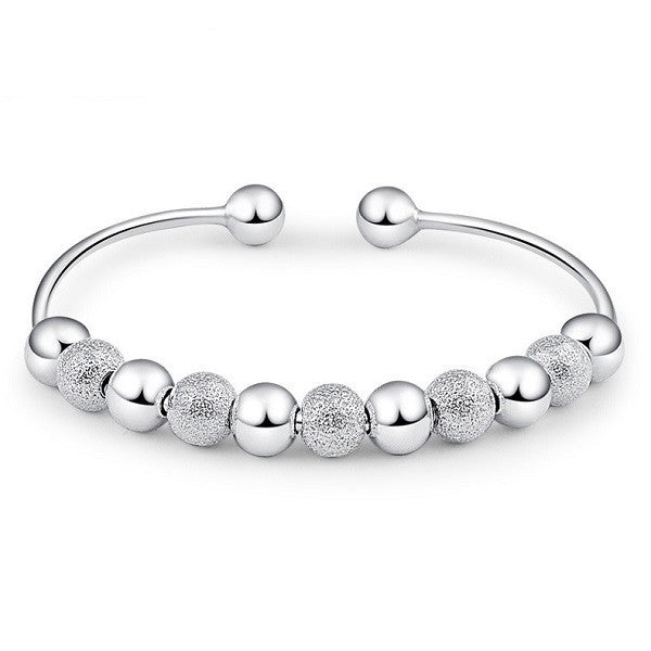 925 Silver Plated Beads Cuff Bracelet Bangle For Women