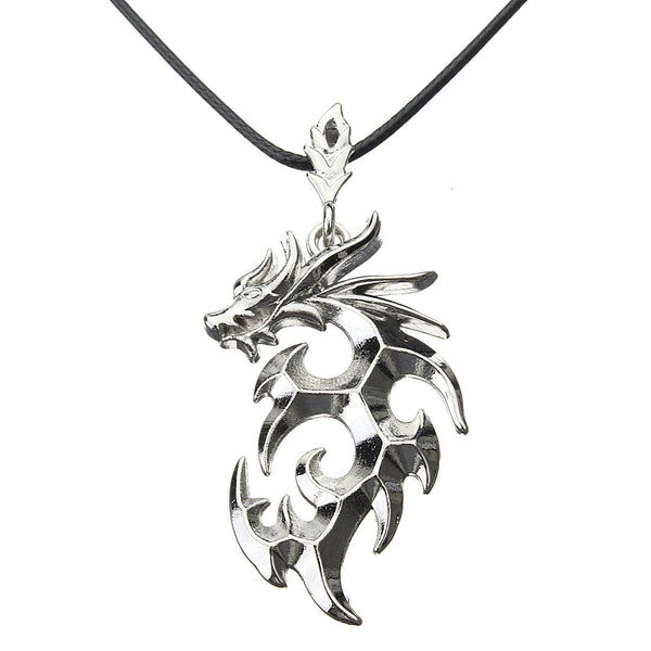 Silver Dragon Rock Cool Charm Leather Necklace Chain Men