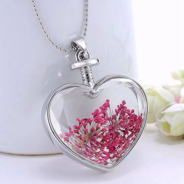 Heart Glass Dry Flower Pendant Necklace Alloy Jewelry Christmas Gift