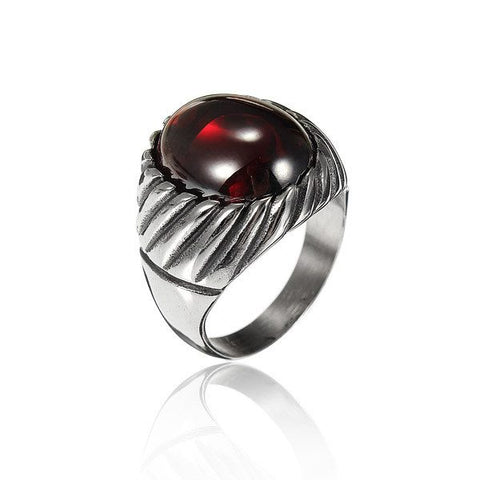 Vintage Titanium Steel Red Black Agate Ring For Men