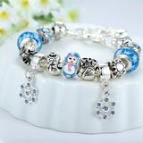 Silver Plated Crystal Glass Alloy Beads Snowflake Pendant Christmas Bracelet