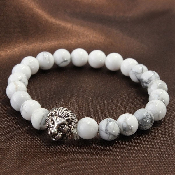 White Howlite Stone Beads Silver Lion Head Bracelet For Men