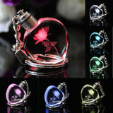 Crystal Glass Led Light Charm Key Chain Ring Multi Colors Birthday Gift