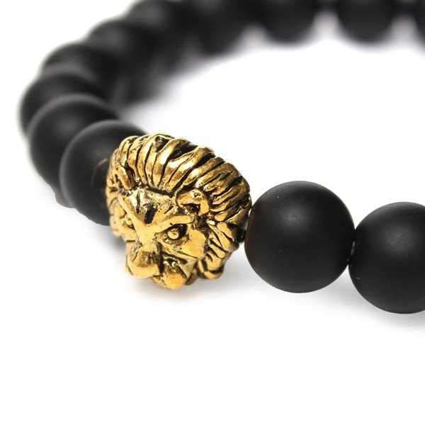 8mm Gold Lion Head Matte Stone Bead Elastic Hand Bracelet