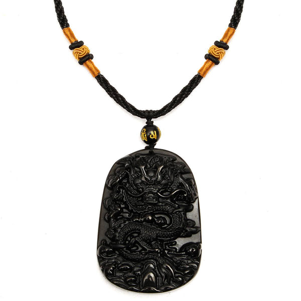 Obsidian Dragon Necklace Beads Blessing Pendant Charm Chain