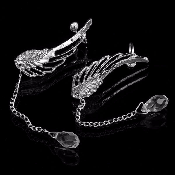 Angel Wings Crystal Drop Ear Clips Rhinestone Women Earrings