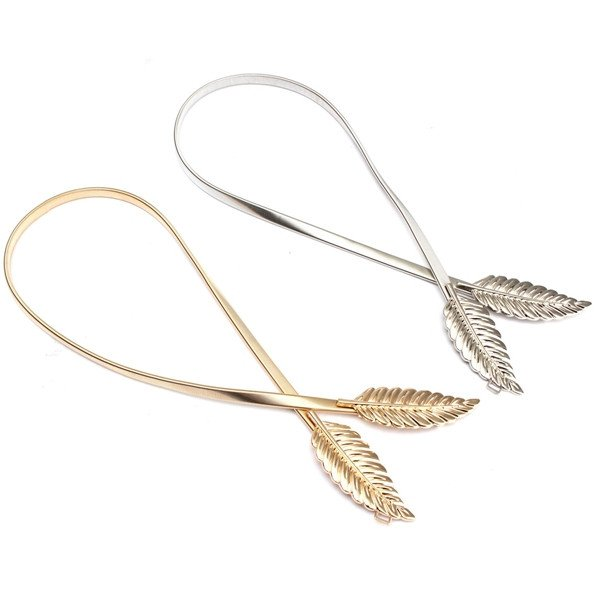 Gold Silver Metal Leaves Belt Women's Elastic Waistband
