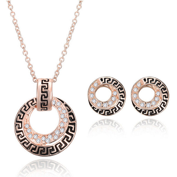 Rose Gold Plated Crystal Pendant Necklace Round Earrings Jewelry Set