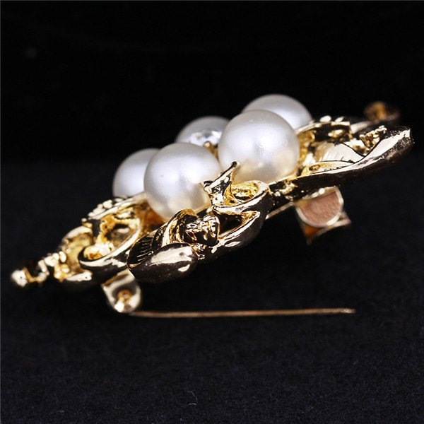 Vintage Silver Crystal Flower Pearl Wedding Bridal Brooch Pin