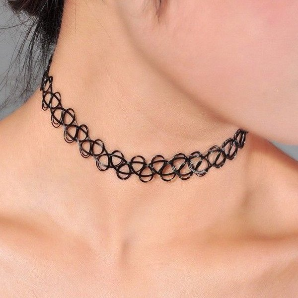 Black Stretch Henna Tattoo Choker Collar Necklace Vintage Jewelry