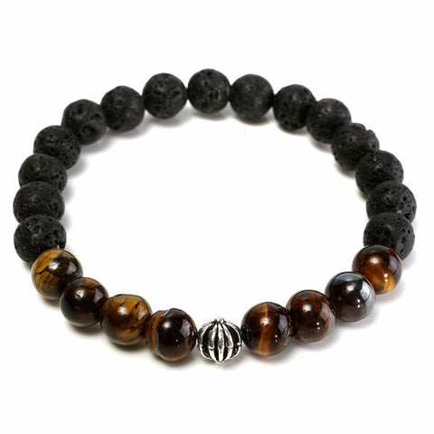 6mm Black Lava Rock Tiger Eye Stone Elastic Bracelet