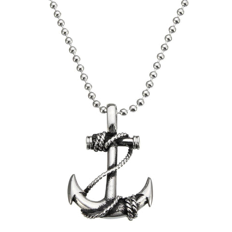 Vintage Stainless Steel Boat Anchor Pendant Men Silver Necklace Chain