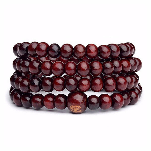 108Pcs 8mm Multilayer Sandalwood Buddha Prayer Beads Bracelet Necklace