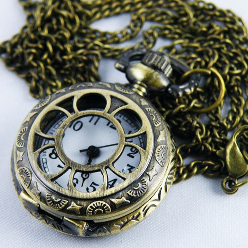 Antique Hollow Quartz Pocket Watch Necklace Chain Gift